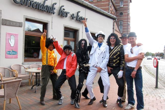 "The Jackson Five, and a couple friends, pose outside of ""The Oak"""